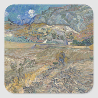 Enclosed Wheat Field with Peasant by Van Gogh Square Sticker