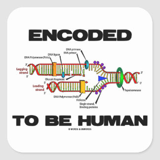 Encoded To Be Human (DNA Replication) Square Sticker