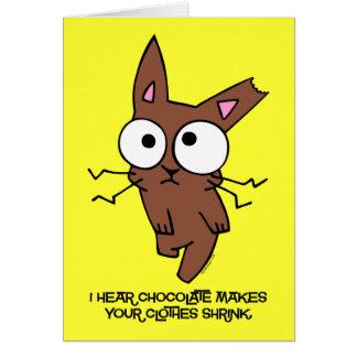 Encogimiento del conejito del chocolate tarjeta de felicitación