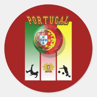 Encontra de Arte e Futebol - Futebol Portuês Pegatina Redonda
