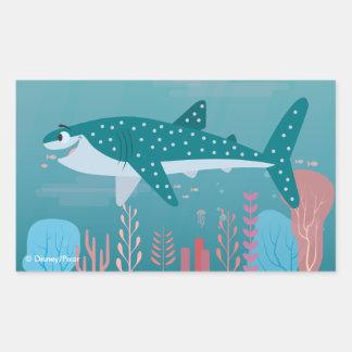 Encontrando destino del Dory el   el tiburón de Pegatina Rectangular