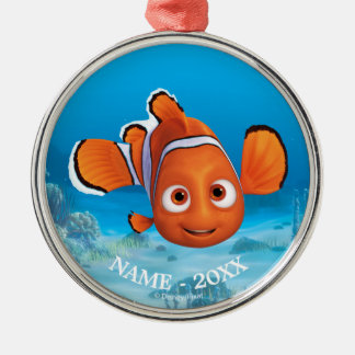 Encontrando el Dory el | Nemo añada su nombre Adorno Navideño Redondo De Metal