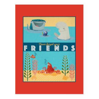 Encontrando el Dory el   nunca olvide a sus amigos Tarjetas Postales