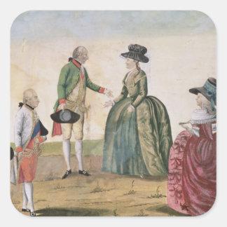 Encontrando entre José II y a la emperatriz Pegatina Cuadrada