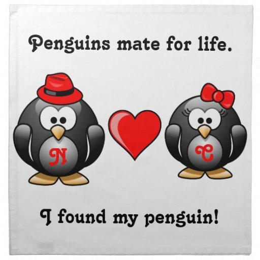 Encontré a mi compañero del pingüino para el coraz servilletas