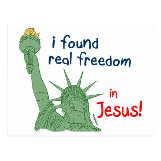 Encontré diseño cristiano de la libertad real postal