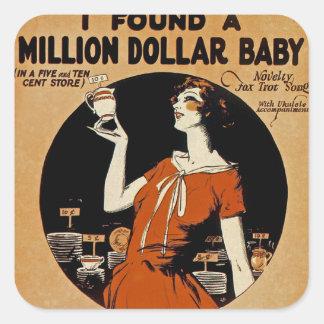 Encontré Million Dollar Baby Calcomanías Cuadradases