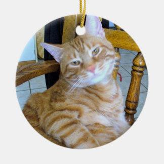 Encontró sano feliz felino del gato de Tabby Adorno Navideño Redondo De Cerámica