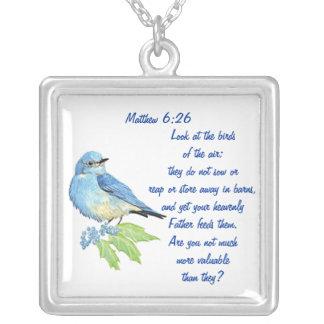 Encoucouraging Scripture Matthew 6:26, Bird Art Silver Plated Necklace