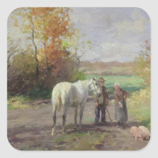 Encounter on the Way to the Field, 1897 Square Stickers