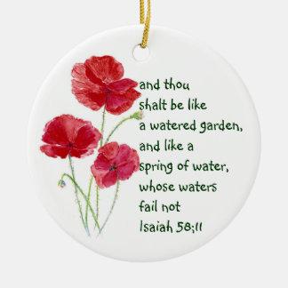 Encourage Promise Scripture Isaiah Poppy Garden Ceramic Ornament