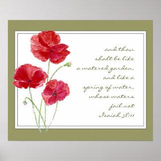Encourage Promise Scripture Isaiah Poppy Garden Posters