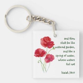 Encourage Promise Scripture Isaiah Poppy Garden Single-Sided Square Acrylic Keychain