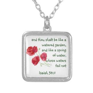 Encourage Promise Scripture Isaiah Poppy Garden Square Pendant Necklace