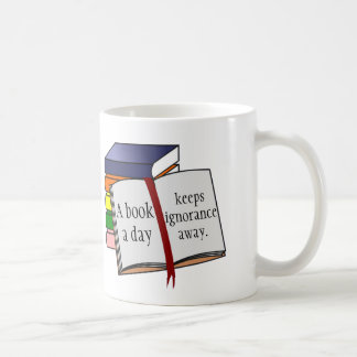 Encourage reading support literacy a book a day coffee mug