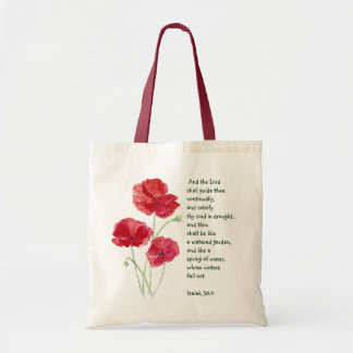 Encourage Scripture Isaiah Poppy Garden Flower Tote Bag