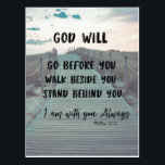 """Encouragement and Comfort Bible Verse with Quote Postcard<br><div class=""""desc"""">Encouragement and Comfort Bible Verse with Quote postcards. Scripture from Matthew,  &quot;I am with you always&quot; with quote,  &quot;God will go before you,  walk beside you ,  stand behind you&quot; with retro inspired scenic boardwalk background. More at Christian Quotes Shop. Link below:</div>"""