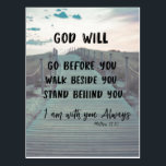 "Encouragement and Comfort Bible Verse with Quote Postcard<br><div class=""desc"">Encouragement and Comfort Bible Verse with Quote postcards. Scripture from Matthew,  &quot;I am with you always&quot; with quote,  &quot;God will go before you,  walk beside you ,  stand behind you&quot; with retro inspired scenic boardwalk background. More at Christian Quotes Shop. Link below:</div>"