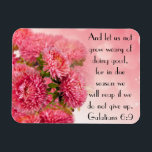 """Encouragement bible verse Galatians 6:9 Magnet<br><div class=""""desc"""">Pretty pink flowers inspired with bible verse &quot;And let us not grow weary of doing good,  for in due time we will reap if we do not give up.  Galatians 6:9&quot;</div>"""