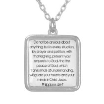 Encouragement bible verse Philippians 4:6 necklace
