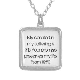 encouragement bible verse Psalm 119:50 Square Pendant Necklace