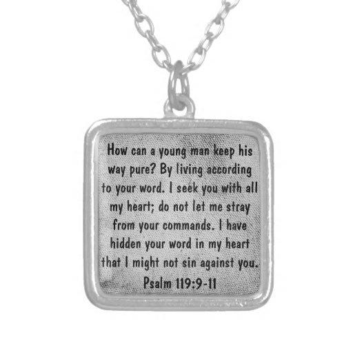 encouragement bible verse Psalm 119 necklace