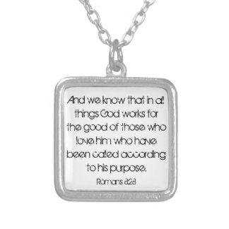 Encouragement bible verse Romans 8:28 necklace