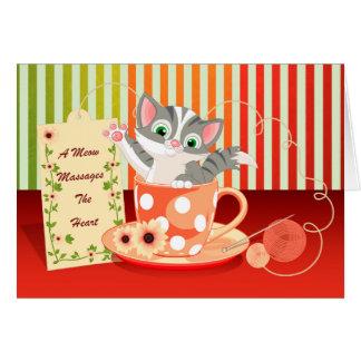 Encouragement Card Cat In Tea Cup