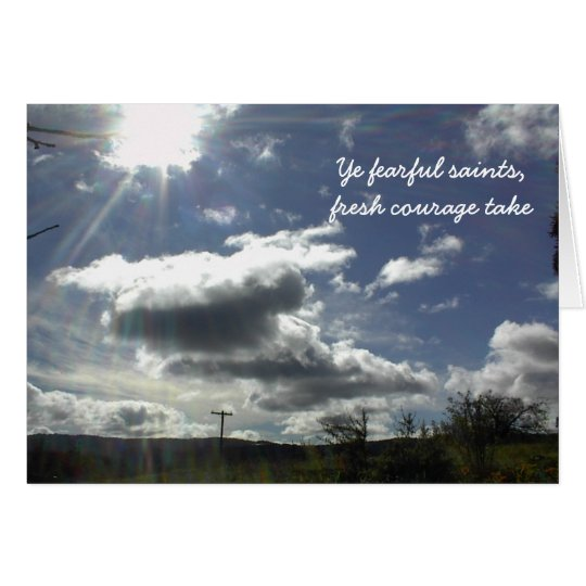 Encouragement Card with cloudy sky.