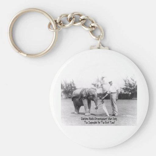 Encouragement - Elephant Playing Golf Keychain