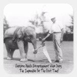Encouragement - Elephant Playing Golf Square Sticker