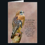 """Encouragement, Get Well, Spiritual, Hawk on a Limb Card<br><div class=""""desc"""">Designed to offer encouragement and hope to someone, this spiritual-themed card features a Bible quote from Psalms with a beautiful red-shouldered hawk perched on a low limb. The inside verse can easily be altered to suit many different situations. The background used in the image is a modified version of artwork...</div>"""