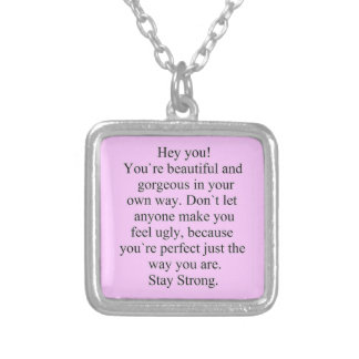 ENCOURAGEMENT SAYING STAY STRONG EXPRESSIONS SQUARE PENDANT NECKLACE