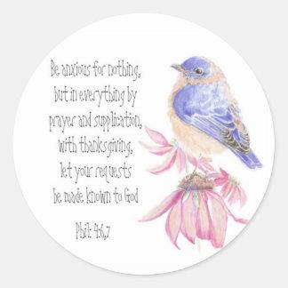 Encouragement, Scripture, Cheerful Bluebird Classic Round Sticker