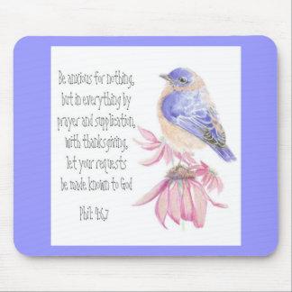 Encouragement, Scripture, Cheerful Bluebird Mouse Pad