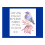 Encouragement, Scripture, Cheerful Bluebird Postcard