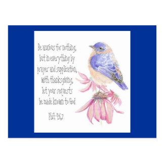 Encouragement, Scripture, Cheerful Bluebird Postcard