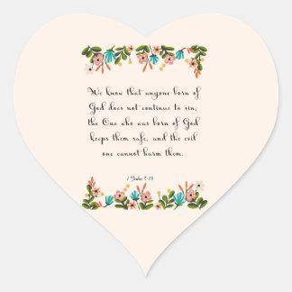 Encouraging Bible Verses Art - 1 John 5:18 Heart Sticker