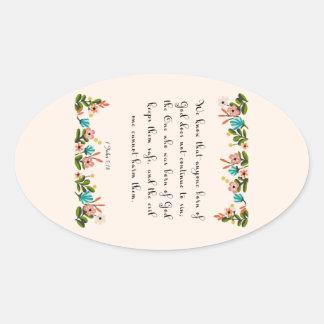 Encouraging Bible Verses Art - 1 John 5:18 Oval Sticker