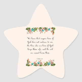 Encouraging Bible Verses Art - 1 John 5:18 Star Sticker