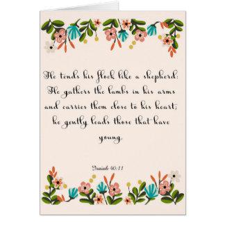 Encouraging Bible Verses Art - Isaiah 40:11 Card