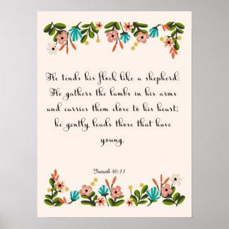 Encouraging Bible Verses Art - Isaiah 40:11 Print