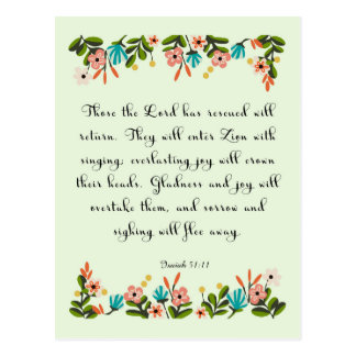 Encouraging Bible Verses Art - Isaiah 51:11 Postcard