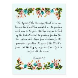 Encouraging Bible Verses Art - Isaiah 61:1-2 Postcard