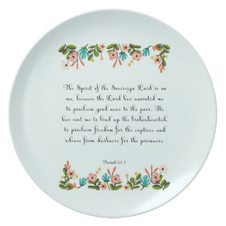 Encouraging Bible Verses Art - Isaiah 61:1 Melamine Plate