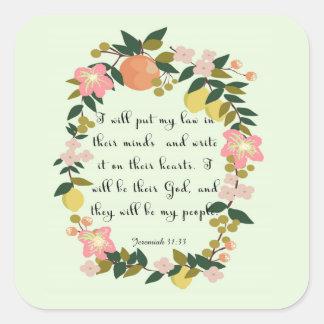 Encouraging Bible Verses Art - Jeremiah 31: 33 Sticker