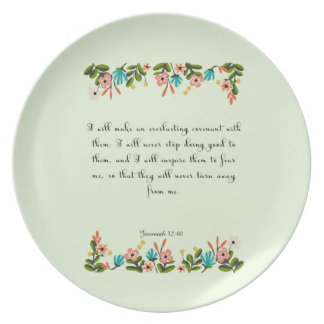 Encouraging Bible Verses Art - Jeremiah 32:40 Dinner Plate