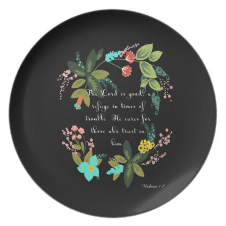 Encouraging Bible Verses Art - Nahum 1:7 Plate