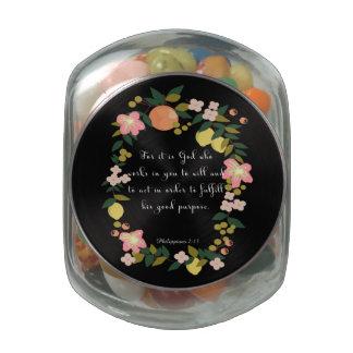 Encouraging Bible Verses Art - Philippians  2:13 Glass Jars