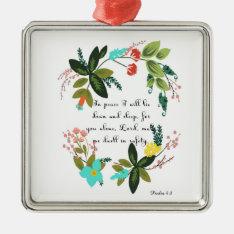 Encouraging Bible Verses Art - Psalm 4:8 Metal Ornament at Zazzle